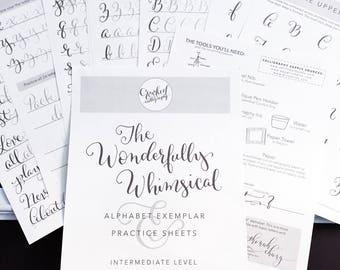 Modern calligraphy worksheet printable download slightly