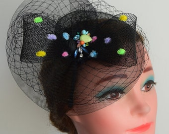 Black veiled fascinator with bow