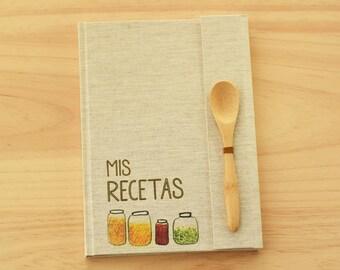 Recetario en blanco personalizable, formato A5, libro de recetas