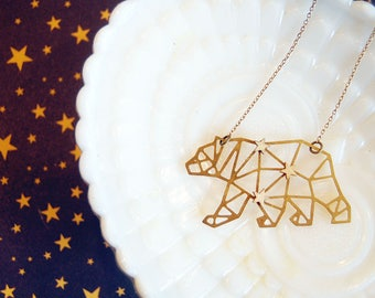 Ursa Major constellation large bear brass geometric charm necklace - wood star accent- california- vintage
