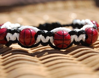 Black and White Basketball Bracelet - More cord colors and sports theme options available