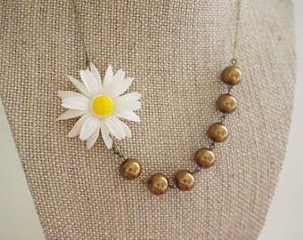 Sunflower Necklace Statement Necklace Bridesmaid Jewelry Bridesmaid Gift Gold Necklace Vintage Necklace Wedding Necklace Bridal Necklace