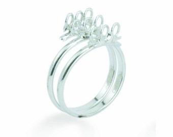 Beadalon Bling Ring - 9 loops - rhodium plated - adjustable - cluster ring base - charm ring base
