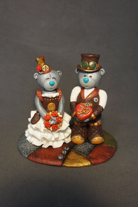 teampunk bear wedding cake topper