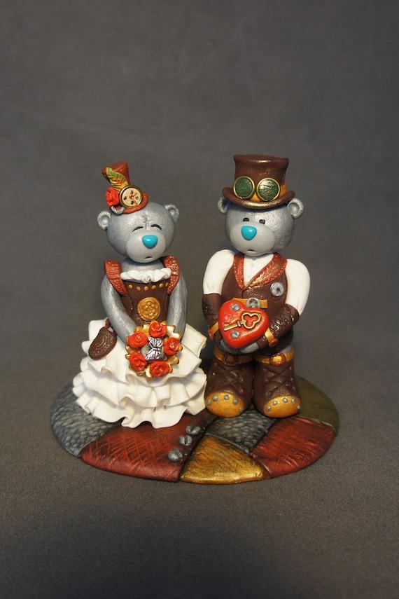teampunk bear wedding cake topper