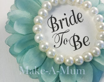 TIFFY BLUE, Hand-dyed Bridal Shower Corsage, Bridal shower favors, wedding gift, Bride to Be, Team Bride,TIFF/pEARL, /btb