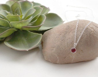 Birthstone Necklace, Birthstone Jewellery, Personalised Birthday Necklace, Simple Birthstone Jewellery, Sterling Silver Birthday Gift