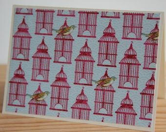 12 Bird Cage Note Cards.  Bird Cage Card Set. Bird Thank You Cards. Bird Gift. Blank Bird Cards.