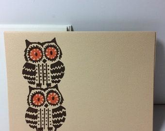 Sweet Vintage Owl Art Note Cards - Set/8