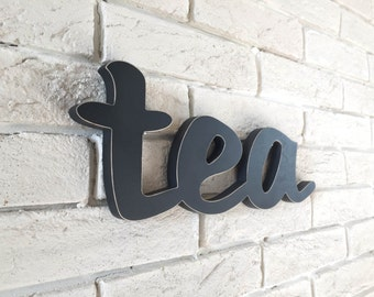 How to Style a Kitchen with TEA sign vintage look rustic  wooden TEA wall decor for a kitchen or restaurant