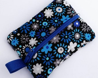 FREE SHIPPING UPGRADE with minimum -  Tiny zipper pouch / earbud case / ear bud pouch / coin pouch | Blue Gray and Black Flowers
