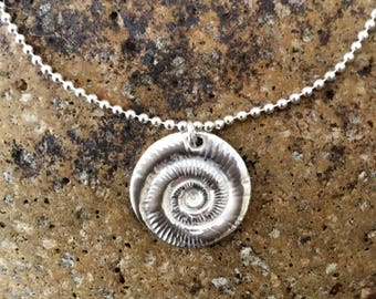 Fine Silver Ammonite Circular Charm Bracelet