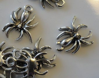 CLEARANCE 24 Creepy  Halloween Spider Charms Antique Tibetan Silver Color 1/2 Inch