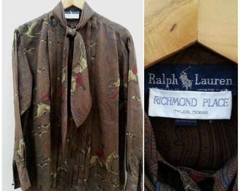Rare Ralph Lauren Women Silk Blouse // Ascot Blouse Size 6 / Made in U.S.A.