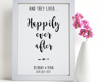 Personalised Typography And They Lived Happily Ever After Word Art Wedding Picture Print Gift
