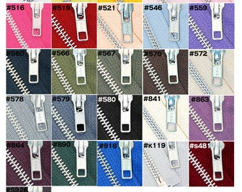 24 inch Jacket Zipper YKK Number 5 Aluminum Metal  - Medium Weight  - Separating -  Choose your own colors