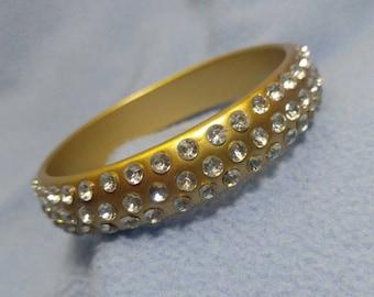 Rhinestone Studded Gold Bangle Bracelet