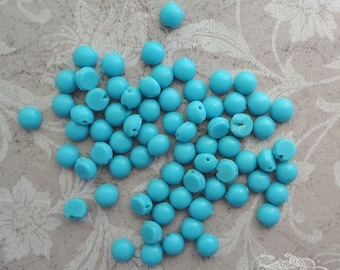 Vintage Glass Nailheads or Sew Ons - 5mm Opaque Robin's Egg Blue  (24 pc)