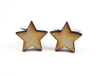 Wooden Star Cufflinks, Laser Cut Wood Cufflinks, Wooden Cufflinks