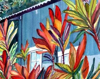 kauai plantation house 5x7 art print tropical cottages prints hawaiian paintings marionette taboniar kauai art galleries hanapepe towne