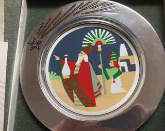 "Vintage 1993 Wilton Pewter The Departure 1st Edition Christmas Magi PLATE 9"" LE"