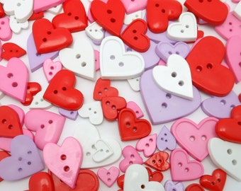 "Big Bag of Heart Buttons (.5"" - 1.25"") - More than 100 buttons per bag"
