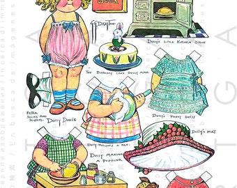 DOLLY Dingle Makes A BIRTHDAY CAKE. Lovely Digital Paper Dolls Download. Vintage Dress Up Dolls Printable Grace Drayton.