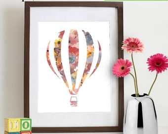 Watercolor Hot Air Balloon Print, Watercolor silhouettes, balloon, The places you'll go, Nursery Print, Transportation, Item  WC011C