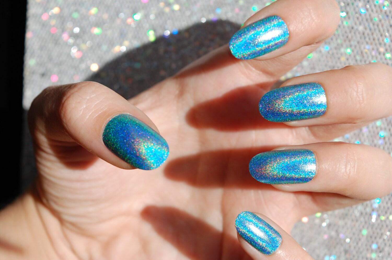 Aqua Holo Nails -CHOOSE YOUR SHAPE- Set of 20 - Fake nails, false ...