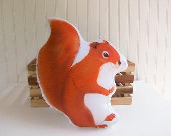 Squirrel Pillow Plush Soft Toy Woodland Nursery Decor Ready to Ship