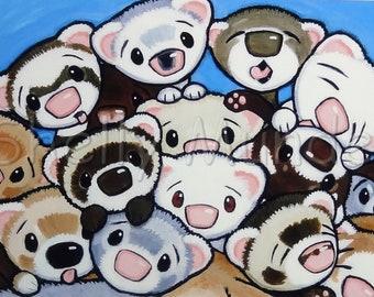 16 Ferrets - Ferret Art Print - by Shelly Mundel