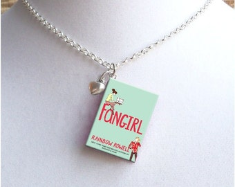 Fangirl with Tiny Heart Charm - Miniature Book Necklace