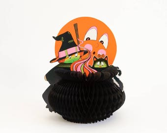 """Vintage 1970s Halloween Decoration / Beistle Witch and Cauldron Honeycomb Table Centerpiece 10"""" VGC"""