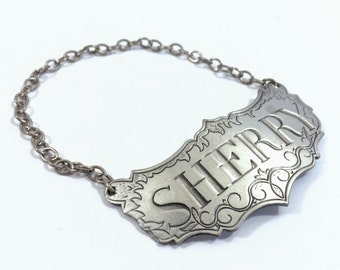 Vintage Sherry Liquor Decanter Label / Tag by Stieff Pewter
