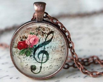 MUSICAL Pendant Necklace G CLEF Necklace Pendant Vintage Floral Music Note Glass Pendant Handmade Jewerly Musical Pendant Musician gifts