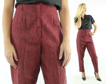 Vintage 50s NOS High Waisted Pants Maroon Trousers 1950s Large L Pinup Rockabilly