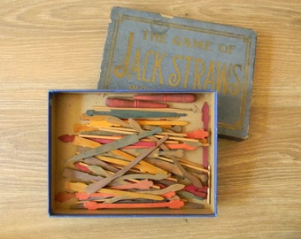 "Curious Antique ""Jack Straws"" Game from Parker Brothers. Early Version of ""Pick-Up Sticks"" Original Box and Contents. For Game Collectors."