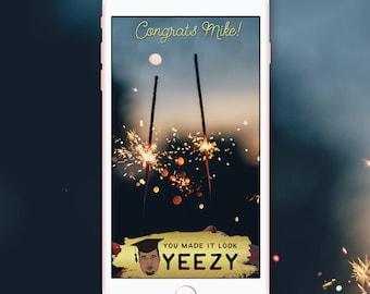 Graduation Snapchat Filter, Graduation Snapchat Geofilter,Custom Kanye West Yeezy HipHop Graduation Snapchat Filter, Congrats Filter