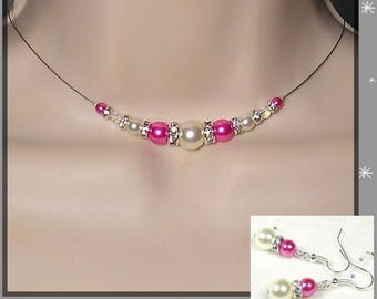 Set 2 wedding pieces in stock white, pink rhinestones - Romantica Collection - Lily