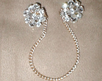 Vintage Rhinestone Sweater Guard Clip Chain