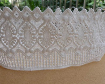"""Retro White Cotton Lace Trim 3.34"""" for Bridal, Quilt, Sewing, Crafting Lace, Costume design"""