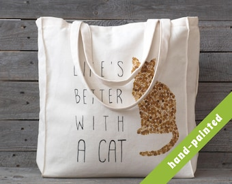 cat lady, cat lover gift, cat tote bag, cat tote, canvas bag, canvas tote, eco bag, cat bag, hand-painted tote bag,  cat, tote, cat gifts