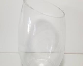 "9.5"" Tall Oblique Mouth Clear Glass Micro Landscape Succulent Plant vase, Home/Office decoration"