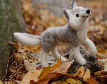 Needle Felted Grey Wolf