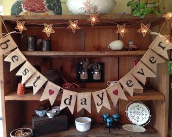Best Day Ever Burlap Bunting, Wedding Bunting, Wedding Banner, Wedding Photo Prop, Bridal Shower, Country Wedding, Wedding Decor