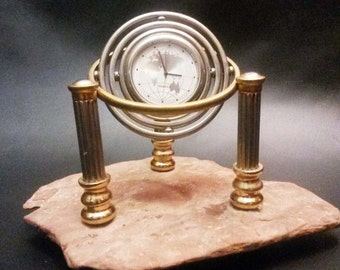 Gyro Double Axle Table / Desk Quartz Clock on Natural Slate Rock  -  20% HOLIDAY DISCOUNT !