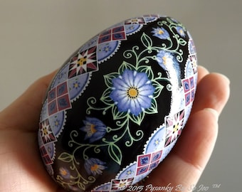 Made To Order Periwinkle Blue Floral Pysanka Ukrainian Easter Egg Pysanky by SoJeo Batik Art