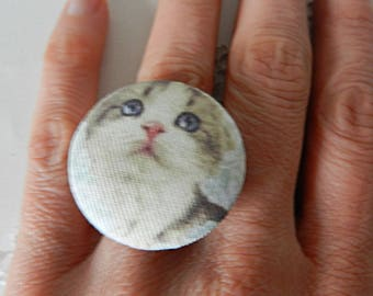 Adjustable ring in fabric, cat