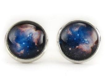 Heavenly Nebula Stud Earrings, Galaxy Jewelry, Nerd Space Ear Rings (1348SSER)