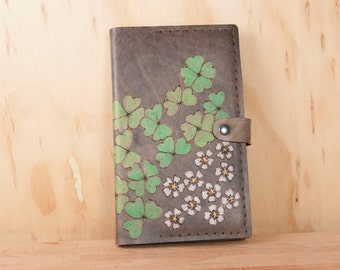 Leather Moleskine Journal - Handmade Refillable Notebook Cover in the Lucky Pattern with Four Leaf Clovers and Shamrocks - Green and Black